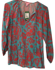 Lilly Pulitzer Top Shorely blue-turquoise and orange