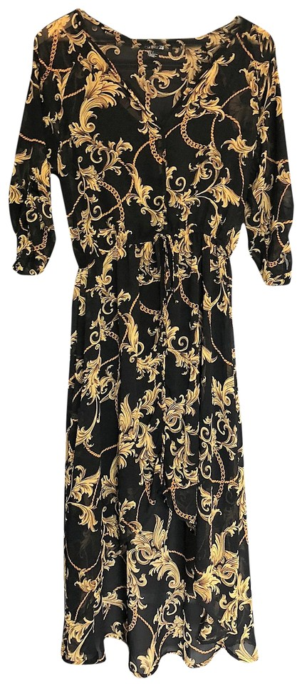 Forever 21 Black And Gold Mid Length Casual Maxi Dress Size 12 L