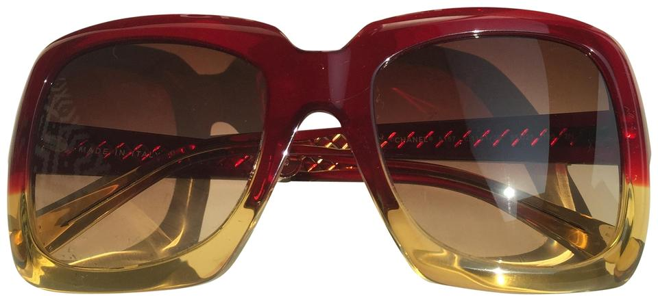 7c7805dae3725 Chanel Red and Yellow Ombré Sunglasses - Tradesy