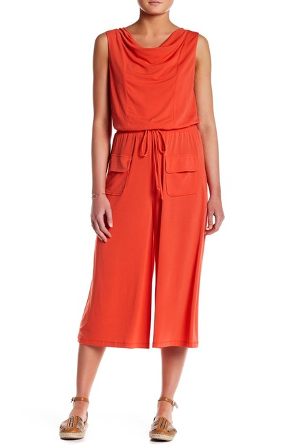 Item - Red Crepe Culotte Orange Cowl Neck Wide Leg Romper/Jumpsuit