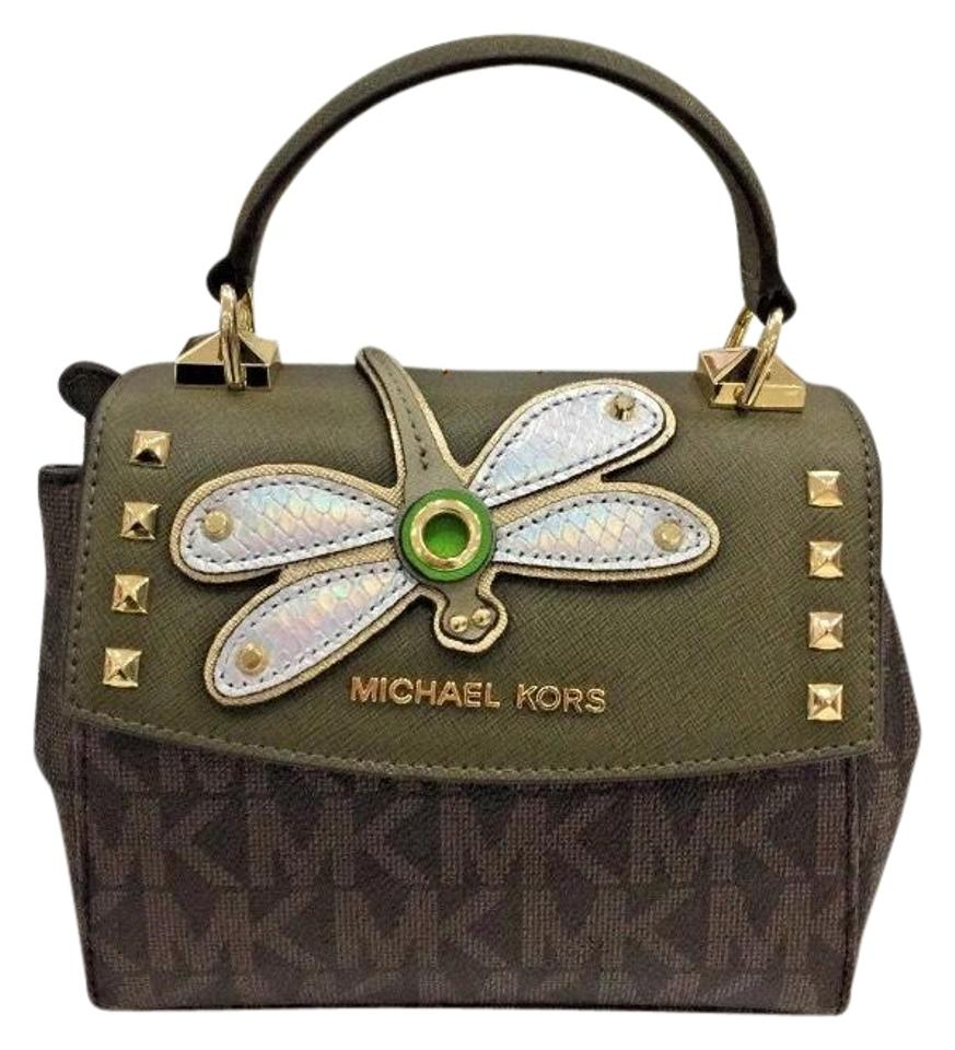 7813a68107ef25 MICHAEL Michael Kors Karla Mini Dragonfly Crosby Green/Gold Leather ...
