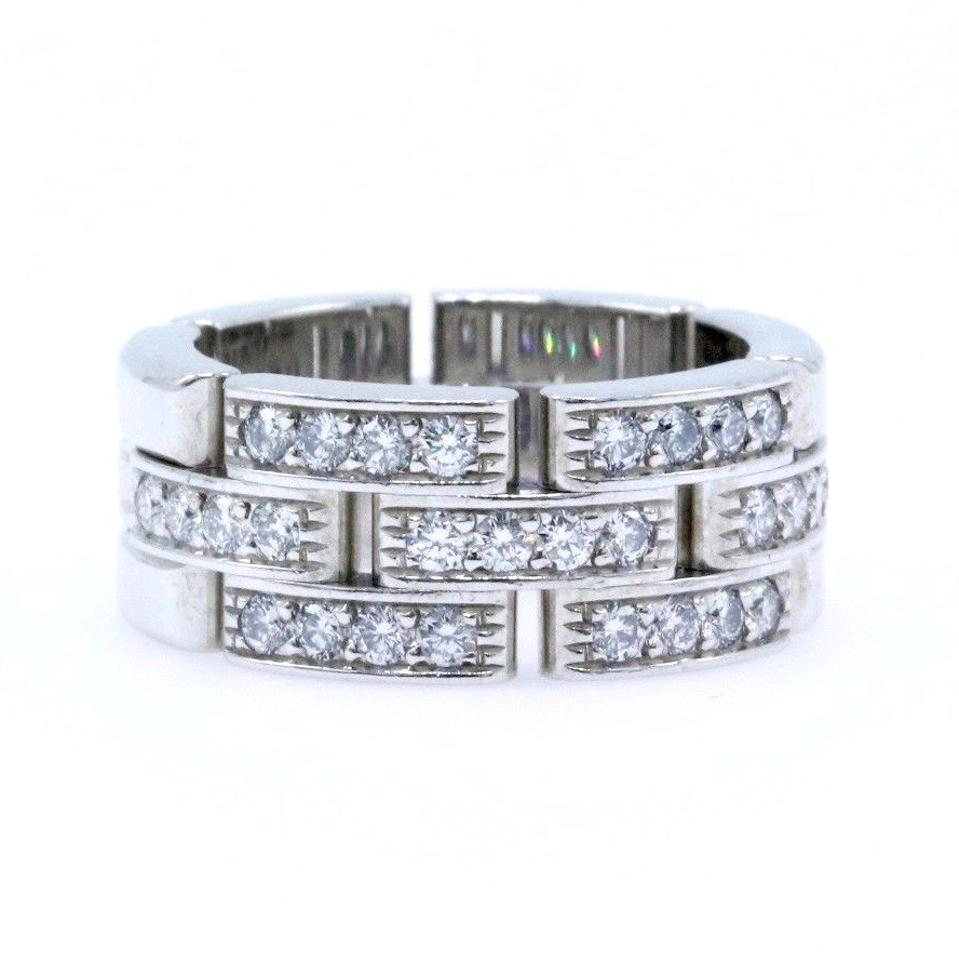 f939e44b72b30 Cartier White Maillon Panther Diamond Ring 18k Gold Links Chain Women's  Wedding Band 40% off retail
