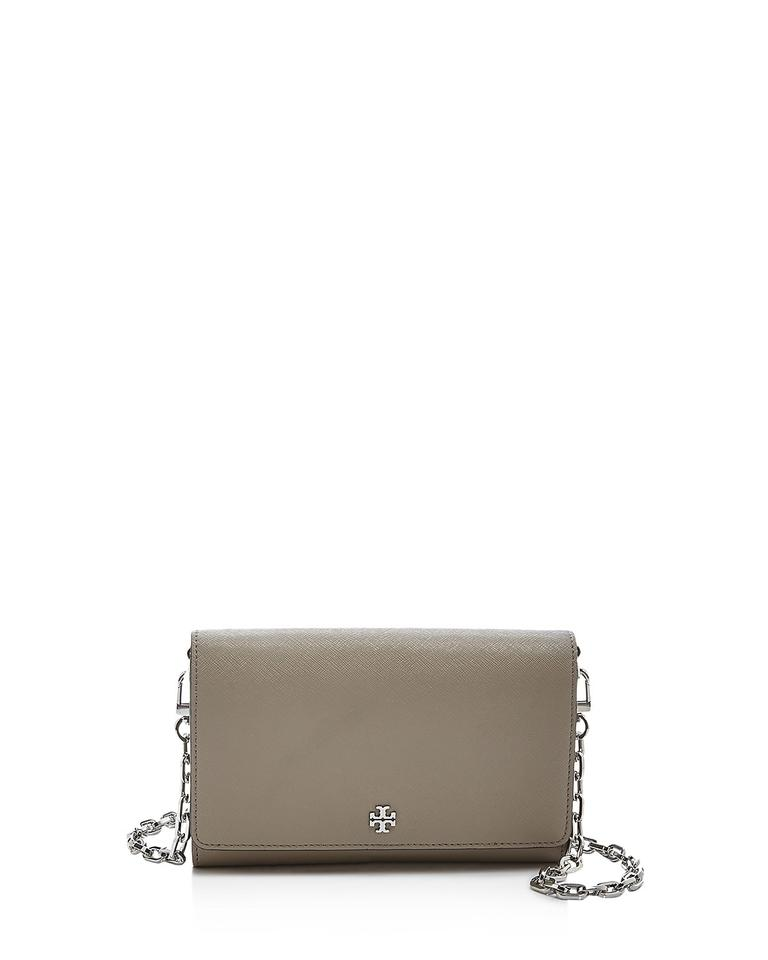 26a4378b55f2 Tory Burch Robinson Chain Wallet French Gray Leather Cross Body Bag ...