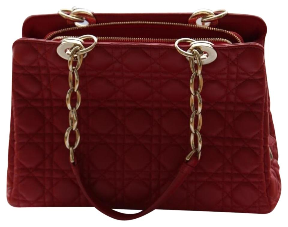 Dior Christian Rouge Cannage Zipped Shopping Red and Gold Lambskin Leather  Tote b7d09d6c30f77