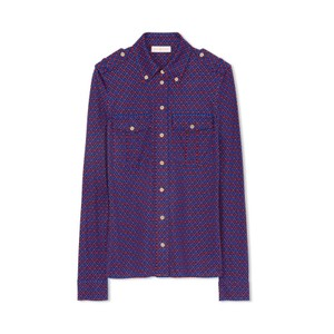 Tory Burch Button Down Shirt Blue and Red