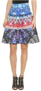 Clover Canyon Spanish Lace Fan Print Scuba Skirt Multi