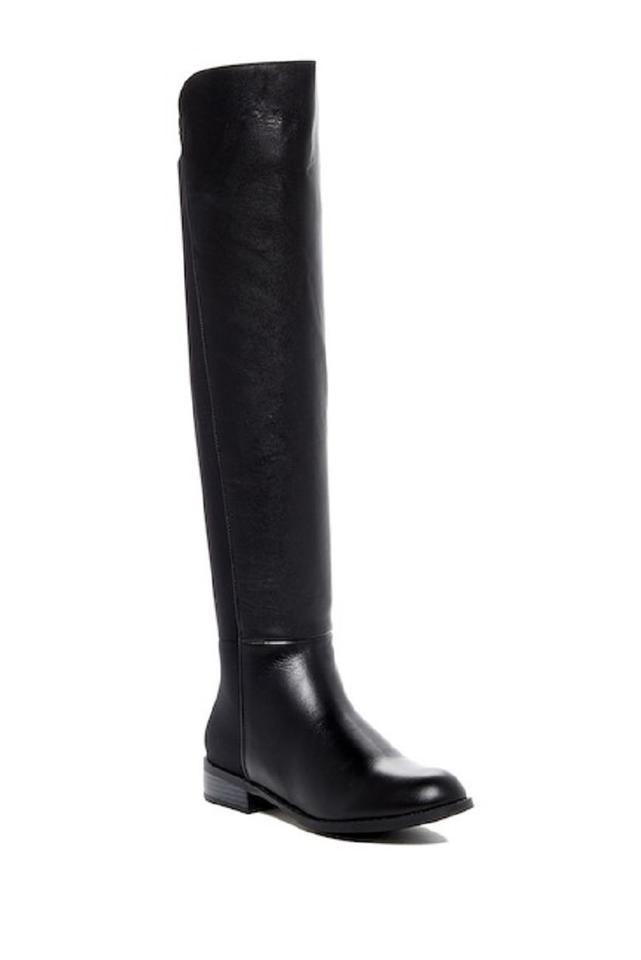 Catherine Malandrino Black Acadia Leather and Boots/Booties Stretch Over The Knee Boots/Booties and 585140