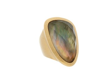Rivka Friedman 18K Plated Ring Black Mother of Pearl