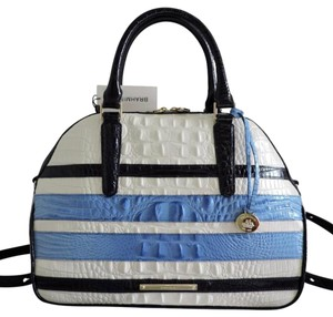 Brahmin Croc Emboss Leather Medium-large Size Satchel/Shoulder Navy/Lt. Blue/White Satchel in Navy, Blue & White