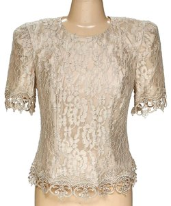 Cachet Lace Lace Shirt Shortsleeve Top beige brown cream