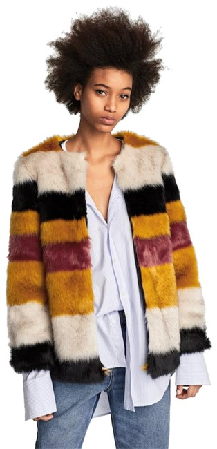 Item - Ivory Orange Black Faux Fur Stripe Jacket Size 4 (S)