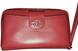 Coach Coach red leather phone wristlet zip around wallet