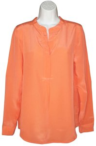 Broadway & Broome Madewell Silk Popover Top Orange