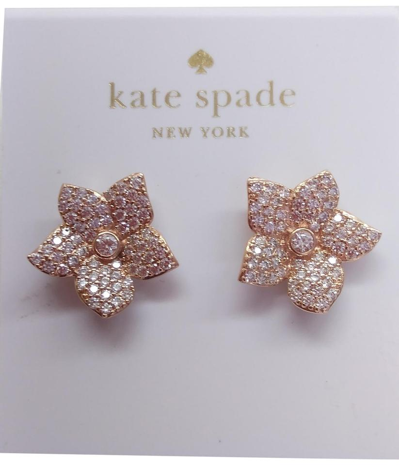 Kate Spade Silver New Pave Flower Earrings 25 Off Retail