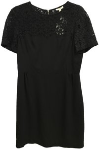 Finity Evening Short Sleeved Lace Bodice Accent Silver Logo Zipper Retail Price Dress