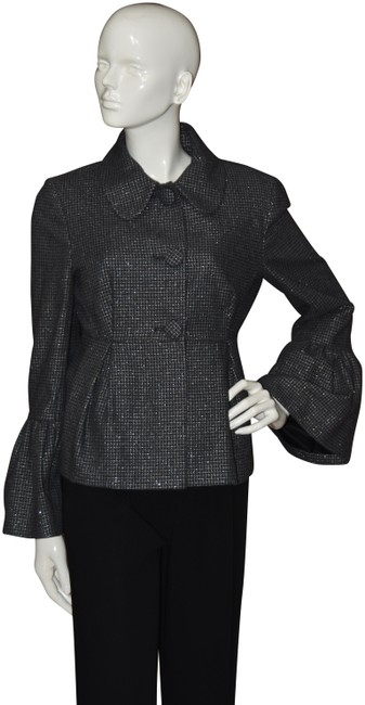 Item - Gray Haute Couture Bell Cuff Tweed Shimmer Jacket Blazer Size 8 (M)
