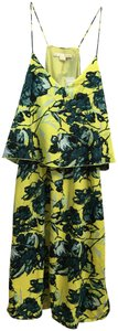 Yellow Multi Maxi Dress by Cooper & Ella Tropical Print Sundress Spaghetti Straps Two Tiered New With Tags