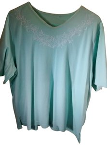 Bon Worth Vee Neck Embroidered Sleeved T Shirt Aqua