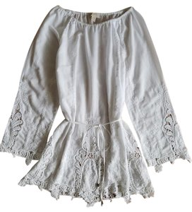 Michael Kors Cotton Voile Vintage Bohemian Lace Embroidered Tunic