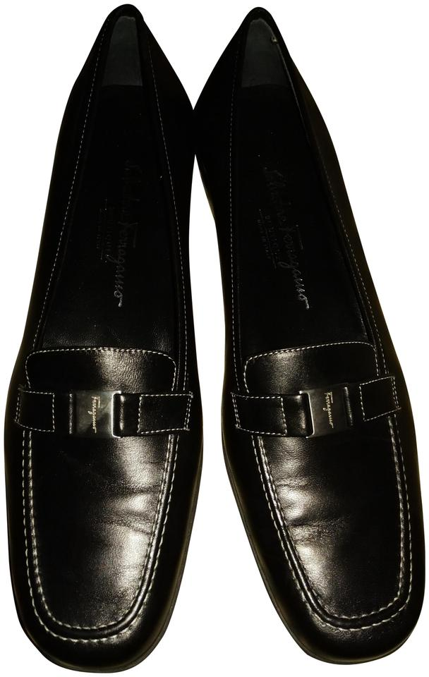 Salvatore Ferragamo Black Leather Loafers Loafers Leather Pumps f3668a