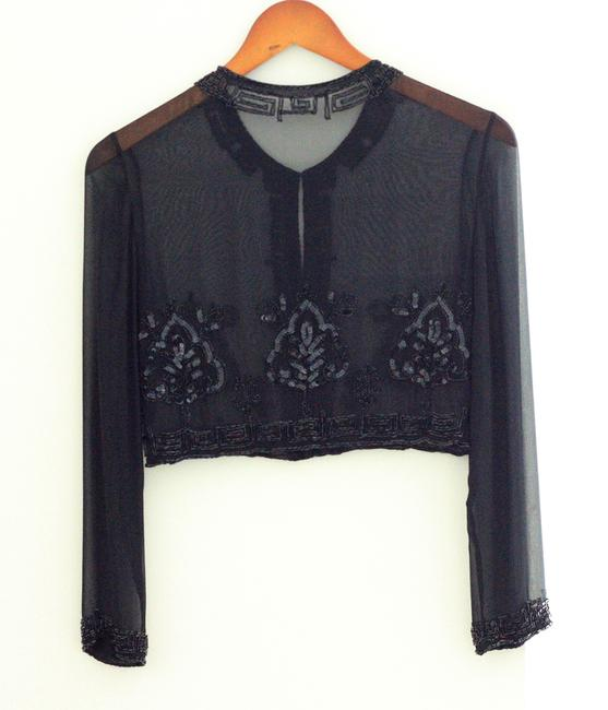 Other Evening Party Event Top Black Chiffon with sequence Image 5