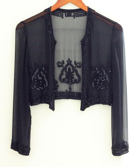 Other Evening Party Event Top Black Chiffon with sequence Image 6
