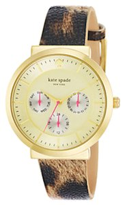 Kate Spade Kate Spade New York Multi Function Metro Chronograph Animal Print Leather Watch 1YRU0511