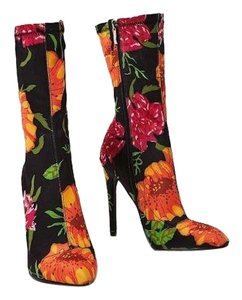 Ego Sock Ankle Uk Black Floral Boots