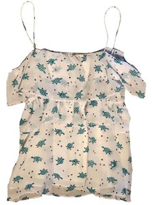 Julie Brown Top white with green print