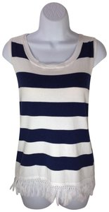 Sail to Sable Nautical Tassels Fringe Knit Top Navy/White