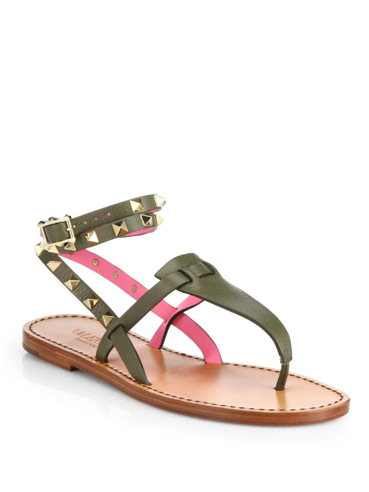 f86dc63fc8b Valentino Green Rockstud Pink Leather Ankle Strap Wrap Around Thong ...
