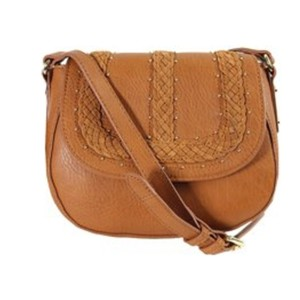 INC International Concepts Saddle Small Brown Suede Cross Body Bag