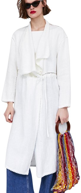 Item - Off White Crochet Linen Coat Size 4 (S)