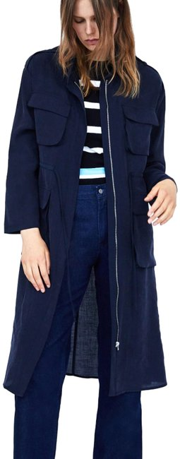 Item - Navy Blue Flowy with Pockets Coat Size 0 (XS)