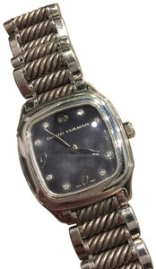 David Yurman Diamond Black Mother of Pearl Face Cable MoP Thoroughbred Stainless Steel Iridescent Swiss Movement