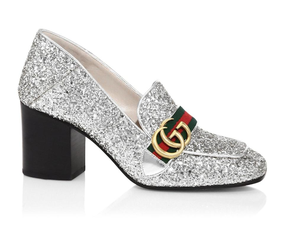 19e7bf189f6 Gucci Silver Marmont Peyton Glitter Gg Gold Loafer Mule Mid Heel ...
