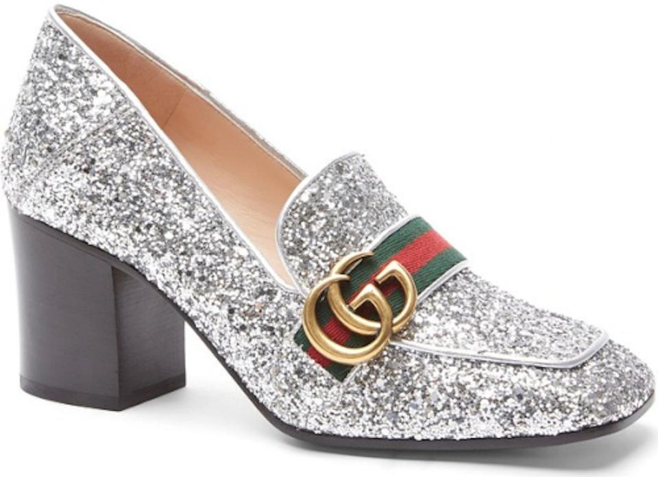608b1c7f51b Gucci Silver Marmont Peyton Glitter Gg Gold Loafer Mule Mid Heel Pumps Size  EU 37 (Approx. US 7) Regular (M