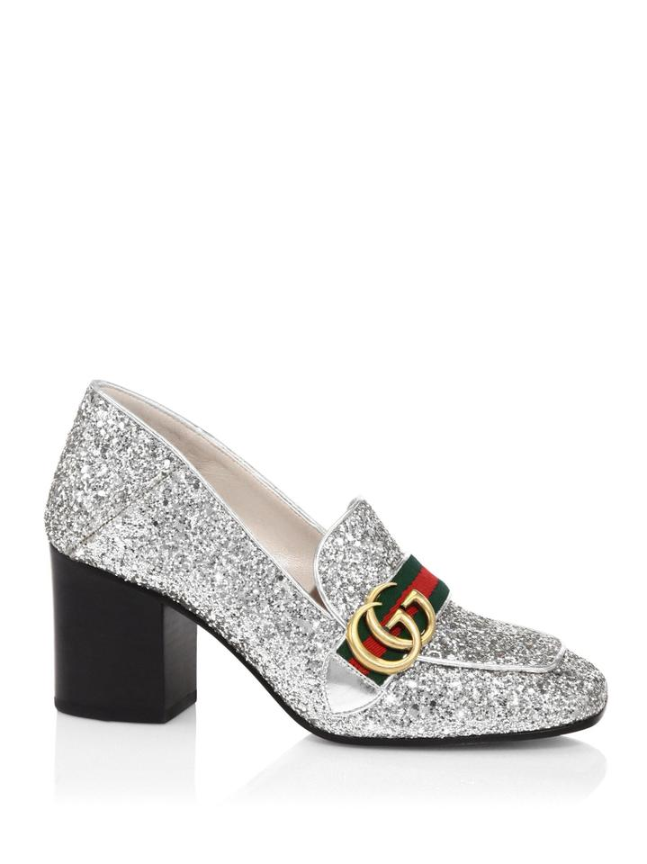 c862d3ee6b7 Gucci Silver Marmont Peyton Glitter Gg Gold Loafer Mule Mid Heel Pumps Size  EU 37.5 (Approx. US 7.5) Regular (M