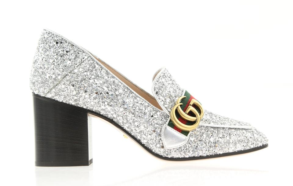 18bd4cfc9d4 Gucci Silver Marmont Peyton Glitter Gg Loafer Heels Pumps Size EU 38 ...