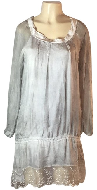 Item - Gray Soft Sheer Linen Mid-length Night Out Dress Size 8 (M)