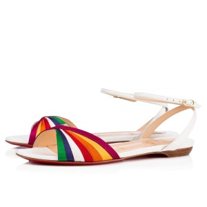 Christian Louboutin Classic Flat Leather Naseeba white Sandals
