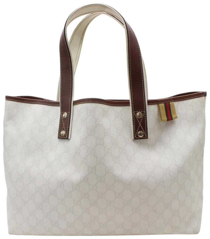 b2a47905db9a8a Gucci Monogram Supreme Web 867522 White Coated Canvas Tote - Tradesy