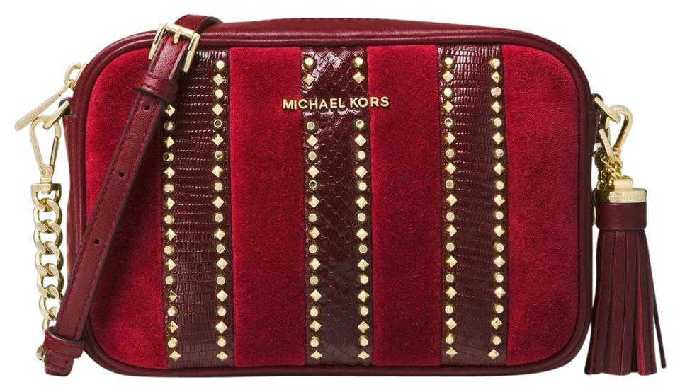 9c61f9cb835b Michael Kors Ginny Medium Mixed-media 32f8gf5m6y Oxblood Leather ...