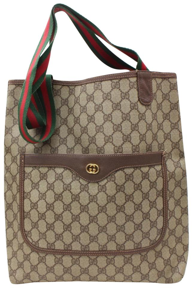 bce636dfa06b78 Gucci Shopping Monogram Large Web 867528 Brown Coated Canvas Tote ...