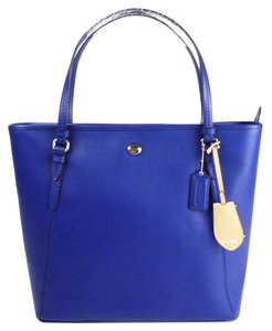 Coach Shoulder Leather Tote in Hot Peacock Blue/Silver