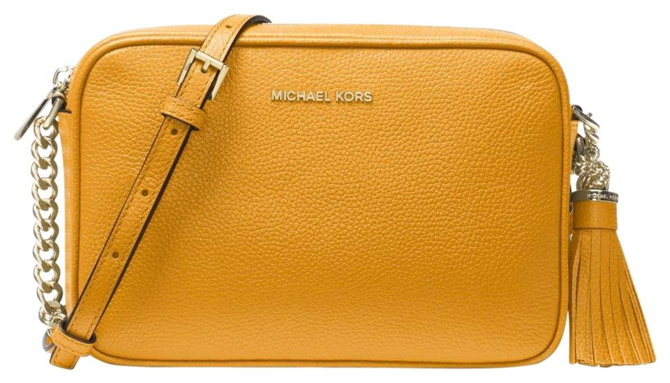 ce40f5ef48aa Michael Kors Ginny 32f7ggnm8l Marigold Leather Cross Body Bag - Tradesy