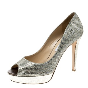 Jimmy Choo Glitter Platform Peep Toe Metallic Pumps