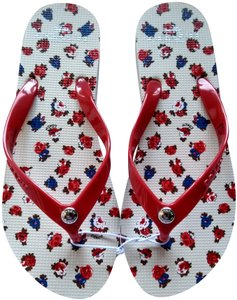 Coach Floral Casual Rubber Red/Blue Sandals