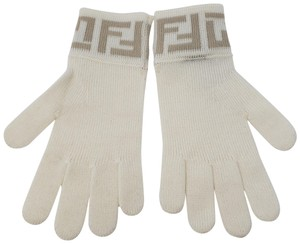 Fendi Charcoal Fendi Zucca monogram knit gloves