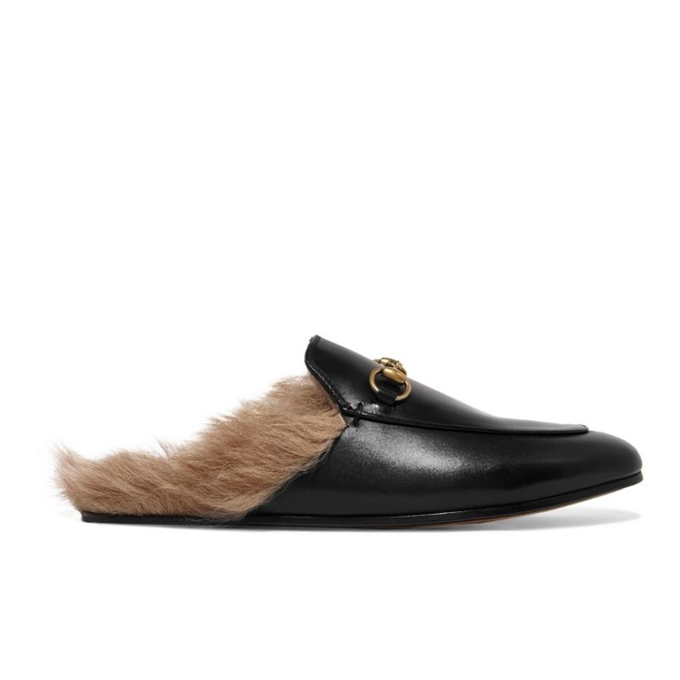 851ca8ce84b Gucci Horsebit Princetown Shearling Fur Lined Leather Mule Flats ...